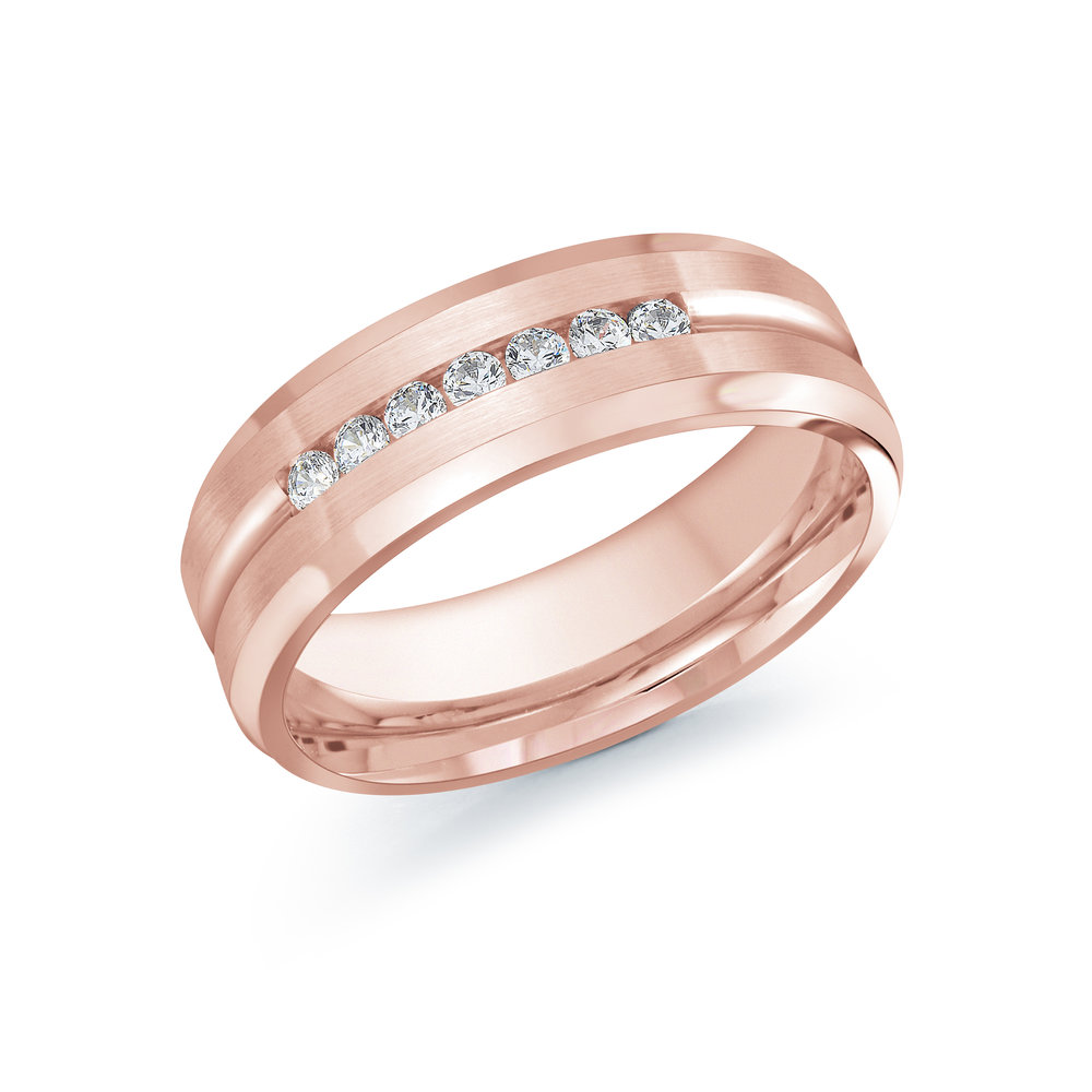 Pink Gold Men's Ring Size 7mm (JMD-599-7P25)